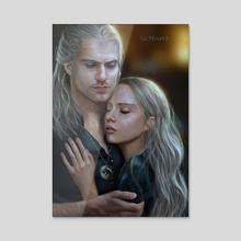 Geralt and Cirilla - Acrylic by Sara Morello