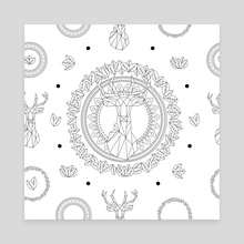Deer mandala pattern - Canvas by Genevieve Blais