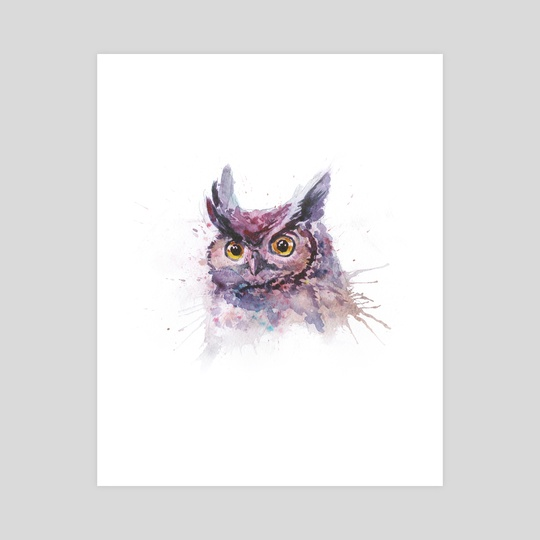 Watercolor owl portrait by Dmitry Kaidash