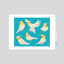Cockatiels - Art Card by Beverly Johnson
