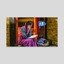 Young Woman Is Sitting And Reading In Front Of Her Shop In Lhasa, Tibet, #4, 6-2016 - Canvas by Vlad Meytin