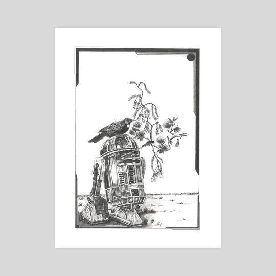 Tui bird, pohutukawa and kowhai by Anais Rebella