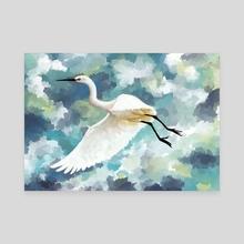 Florida Egret - Canvas by Indré Bankauskaité