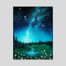 Playful Field at Night - Canvas by Addison Kanoelani