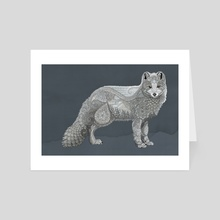 Arctic Fox - Art Card by Zanna Field