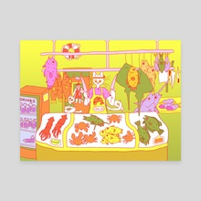 Fresh Fish! Risograph colors - Canvas by Pier Wright