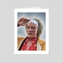 Doc Emmett Brown Portrait - Art Card by Gregory Stoffel