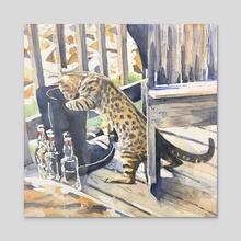 Scorpio the Cat - Acrylic by Tim Bennison