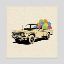 Pickup Truck - Canvas by LennyCollageArt