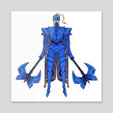 Blue Morpho Butterfly Knight - Acrylic by Ibon