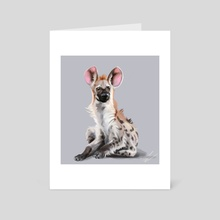 Sitting Hyena - Art Card by Claire Gary