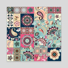 Seamless patchwork background with paisley and flowers. vintage squared ethnic pattern. Can be use as digital paper, fills, print off onto fabric. Pastel pink blue beige - Canvas by Julien LIEM