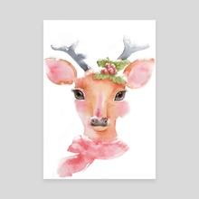 Watercolor-Cute deer with long eyelashes in the snow - Canvas by Acharaporn Kamornboonyarush
