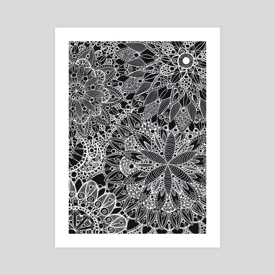 Black and White Mandala Zen Pattern by Sebastian Grafmann