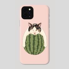 Watermelon Sleep Cat - Phone Case by Broccoli Cat Art