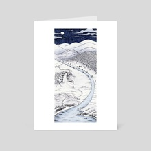 Snowy Night In Japan - Art Card by Mariya Olshevska