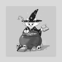 Witch Cat - Canvas by Marion Bartier