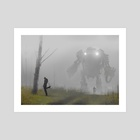 robot in the mist - Art Print by Jakub Różalski