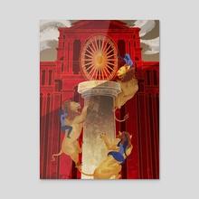 Wheel of Ashoka - Acrylic by Charlotte Gomez