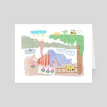 pastel_ostrich&elefant - Art Card by gorilla100 _design
