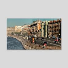 Voskresenskaya Embankment By The Neva River, St. Petersburg (Russia) #124, 08-2018 - Acrylic by Vlad Meytin