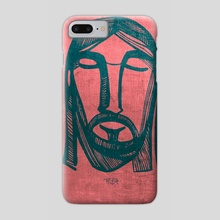 Jesus Christ Face on red background - Phone Case by Bernardo Ramonfaur