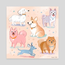 Pastel Pups - Canvas by Kathryn Selbert