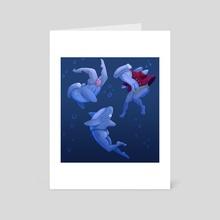 Shark Mermen - Reverse Mermen - Art Card by Laura Slater