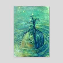 Fish Girl - Acrylic by Angie Kang