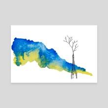 Giraffe Mountain Clouds - Canvas by Joana Lourenço