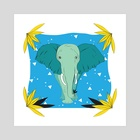 Safari Kid- Elephant Blue  - Art Print by Justine Swindell