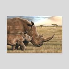 Rhino and Calf - Canvas by Richard Macwee