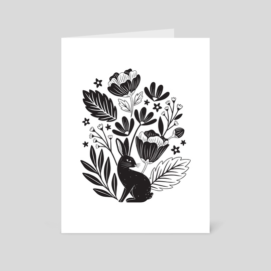 Rabbit Bouquet - Black on White by Lauren Myers