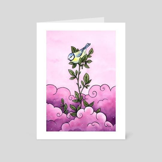 Blue tit in the pink sky by Ellen Wilberg