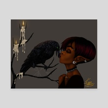 Kissing Crow - Canvas by Shakira Rivers