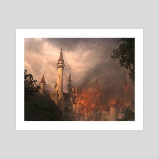 Burning castle by Philipp Dobrusin