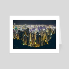 Hong Kong by night - Art Card by Giel Sweertvaegher