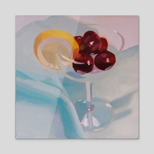 Cherries in a Glass - Acrylic by Yuri Tayshete