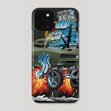 Classic American Muscle Car Hot Rod Cartoon Vector Illustration - Phone Case by Jeff Hobrath