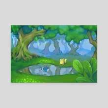 Pikachu and Marill - Canvas by Amy Gerardy