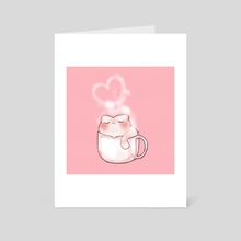 a cattuccino - pink background - Art Card by alpacre soda