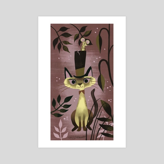 Mouse On A Hat And A Siamese Cat by Greg Abbott