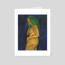 Self Portrait on Blue - Art Card by Kezia Cole