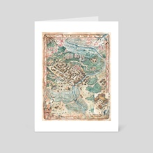 Legend of the Five Rings - Map of Twin Blessings Village - Art Card by Francesca Baerald