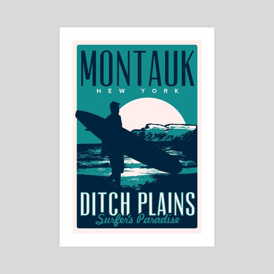 montauk ditch plains vintage travel poster by matt schnepf