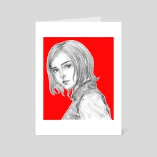 Black and white girl on a red background - Art Card by Zhra Pelmeny