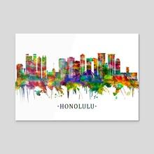 Honolulu Hawaii Skyline - Acrylic by Towseef Dar