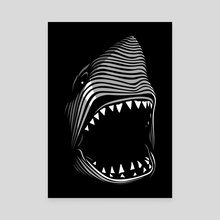 Great shark white tribal - Canvas by Alberto Perez