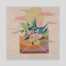 Floral spring envelope - Canvas by shailja