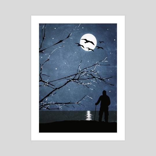 Full Moon Landscape Scene Illustration by Daniel Ferreira Leites